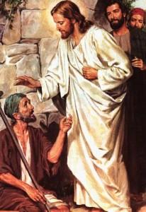 Jesus healing a deaf man